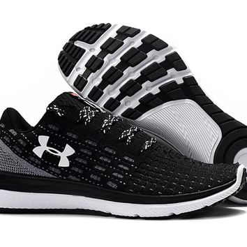 HCXX B217 Under Armour Slingflex Threadborne Flyknit Causal Breathable Running Shoes Black White