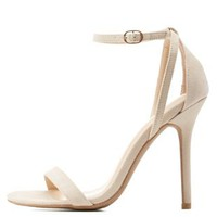 Nude Single Sole Ankle Strap Heels by Charlotte Russe