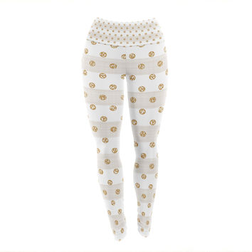 "Pellerina Design ""Linen Polka Stripes"" Gold Dots Yoga Leggings"