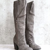 Not Rated Valda Burnished Finish Exposed Zipper Tall Boots - Grey