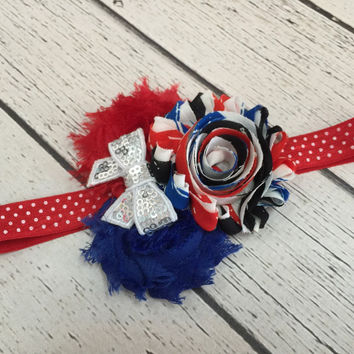 Girls 4th of July Flower Headband, OTT Hair Bows, Baby Bows, Hair Clips, Headbands, Newborn headbands