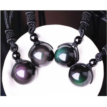 Necklaces & Pendants Natural Stone For Women and Men Black Obsidian Rainbow Eye Beads Ball Transfer Lucky Love Necklaces