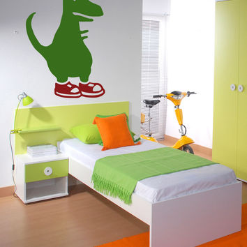 Vinyl Wall Decal Sticker Dino with Shoes #OS_MB495