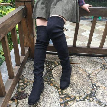 DCK7YE Faux Suede Thigh High Flat Boots up to Size 10.5 (26.5 cm EU 43)