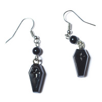 Sourpuss Clothing Coffin Drop Earrings Black One
