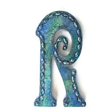 Decorative Letter R metallic Caribbean blue wall letters distressed metal letter made to order monogram letters and symbols 10 inch