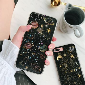 Space planet Glitter phone Cases for iphone 7 7Plus Soft silicon Case For iphone X 6 6s 6Plus 6splus 8 8plus back cover