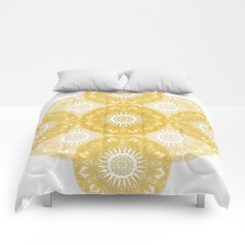 Orange Mandala Comforters by Stefanie Juliette