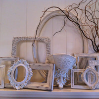 White Shabby Chic Vintage Frame Set, Empty Frame Collage, Mother Goose, Open Frames, Gallery Wall Frames
