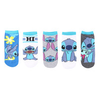 Disney Lilo and Stitch Character No-Show Socks 5 Pair