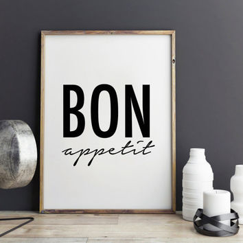 Bon appetit fashion poster, quote, art print for coffee shop
