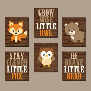 WOODLAND Nursery Art, Woodland Nursery Decor, Woodland Wall Decor, Fox Bear Owl Quotes, Wood Forest Animals, Canvas or Prints Set of 6 Art