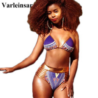 S-3XL Plus Size Swimwear 2017 African Print Two-Pieces Bathing Suit Strappy Bikini Sexy Geometric High Waist Swimsuit V400P