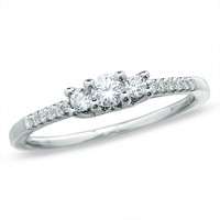 1/3 CT. T.W. Diamond Three Stone Promise Ring in 10K White Gold