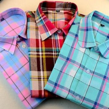 Blouse Turn-down Collar Plaid Shirts Casual Cotton Shirt Style