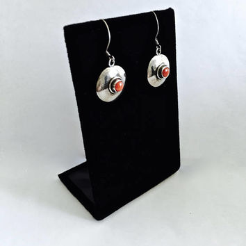 Vintage .925 Sterling Silver Dangle Earrings, French Hook with Southwestern Style, Classic Circles with Center Bezel Set Coral Bead