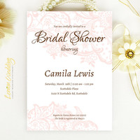 Pink Lace Bridal Shower Invitation - Elegant wedding shower invitation printed on luxury white or cream pearlescent paper