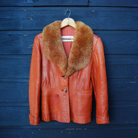 Foxy 1970s Jacket, Rust Brown Leather Jacket w/ Fluffy Sheepskin Shearling Collar, Boho Hippie Coat, Fitted Leather Fur Jacket, XS Small