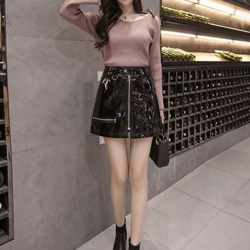 Punk Bright PU Leather Front Zippers High Waist Mini Skirt