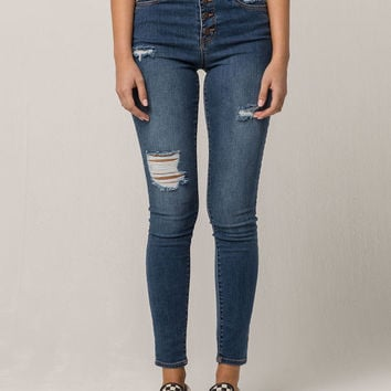 RSQ Exposed Button Manhattan High Rise Womens Ripped Skinny Jeans
