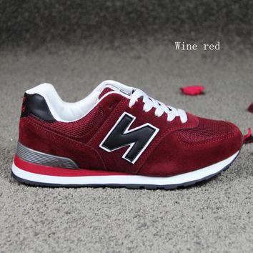 """New balance""Running shoes leisure shoes gump sneakers lovers shoes n words Wine red"