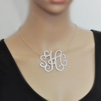 Large monogram necklace in alloy, custom 3 initial, 2.4 inch, 2 hook, personalized jewelry