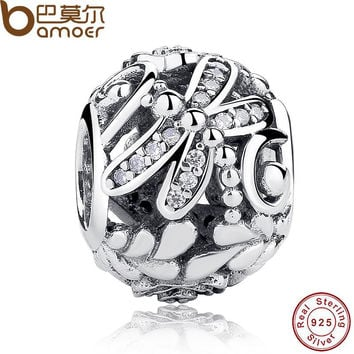 Original 925 Sterling Silver Dragonfly Meadow Flowers Clear CZ Ball Charm Fit Bracelet & Necklace DIY Jewelry PAS184