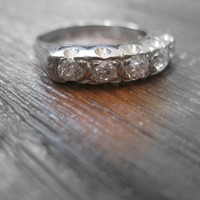 Antique 1.00 + ctw Old European Cut Diamond Wedding Engagement Ring Band 14k White Gold Art Deco Anniversary Ring Right Hand Ring