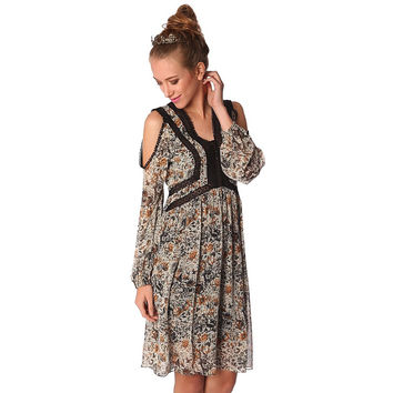 Blue midi dress in floral print with crochet inserts