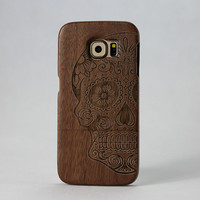 Skull Pattern Real Handmade Natural Wood Case for Samsung Galaxy S6 Wooden Case