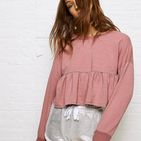 Don't Ask Why Ruffle Bottom Fleece, Mauve