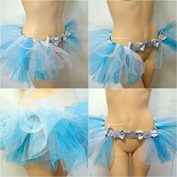Elsa Glitter Blue and Silver Sequin Bow Tutu Bustle Skirt