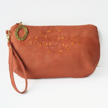 Coral Micro Suede Clutch Wristlet With Embroidered Swirl Design/ Coral Micro Suede Wristlet