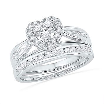 10kt White Gold Women's Round Diamond Heart Bridal Wedding Engagement Ring Band Set 1/2 Cttw - FREE Shipping (US/CAN)