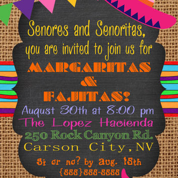 FIESTA Party Invitation Chalkboard Burlap Southwest invitation TEX MEX Invitation 21st  40th 50th Birthday Shower Pink Orange Purple Blue