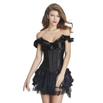 Women Burlesque Clubwear Lace Satin Sexy Corset Dress Strapless Overbust Push Up Bustiers  Corsets Set With Tutu Skirt W46232