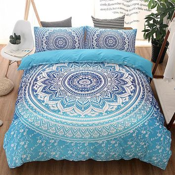 Bohemian Queen Comforter Set Mandala King Twin Size 3D Bedding Set Luxury Bed Quilt Cover Duvet Cover Blue Double Sheets Sets