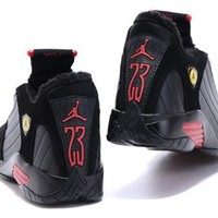 Hot Air Jordan 14 Wool Women Shoes Black Red Yellow