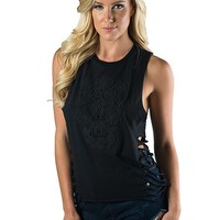 """SA """"LACE SKULL"""" SIDE SHRED TEE BY SULLEN CLOTHING (BLACK)"""