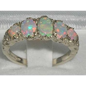 14k White Gold Natural Opal Womens Band Ring - Sizes 4 to 12 Available