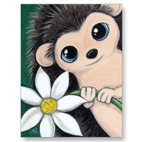 Cute Hedgehog Holding Flower Postcard from Zazzle.com