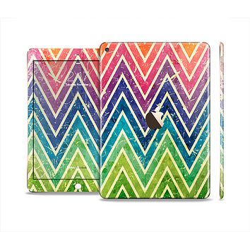 The Grunge Vibrant Green and Neon Chevron Pattern Skin Set for the Apple iPad Air 2