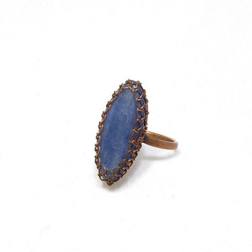 Blue Kyanite Marquise Copper Ring, Rustic Wire Wrapped Ring