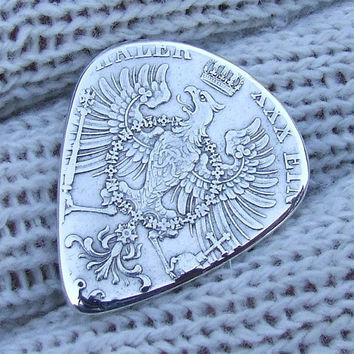 Handmade Coin Guitar Pick - Antique German States 1 Vereinsthaler coin