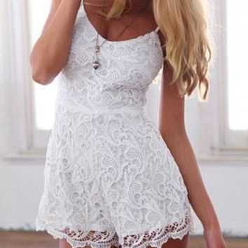 White Lace Romper - Adjustable Straps / Zippered Closure / Scalloped Hemline
