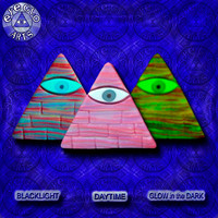 EyeGloArts Awesome Illuminati Pyramid Glow in the Dark Pendant in Purple Orange and Raspberry American Made Blacklight jewelry