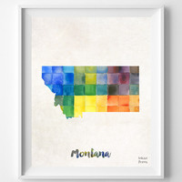 Montana, Map, Print, Helena, USA, Poster, Watercolor, Painting, Home Town, Dorm, Art, States, America, Decor, Watercolour [NO 855]