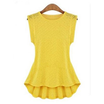 Women's Retro Lace Peplum Frill Bodycon Casual Tank Shirt Tops Blouse