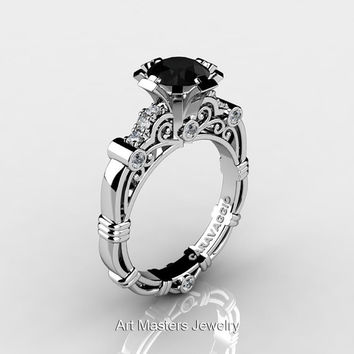 Art Masters Caravaggio 14K White Gold 1.0 Ct Black and White Diamond Engagement Ring R623-14KWGDBD