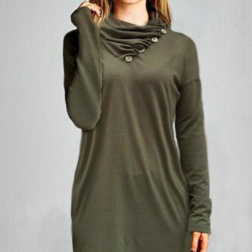 Olive Green Long Sleeve Heap Collar Jacket